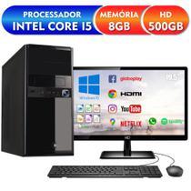 "Computador Completo Intel Core i5 8GB HD 500GB Monitor HDMI 19.5"" Áudio 5.1 canais PC CPU Windows 10 Quantum Flex -"
