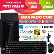 Computador Completo Pc Intel Core i5 Com Hdmi 8GB SSD 240GB Windows 10 Teclado Mouse Desktop - Mali Brasil