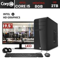 Computador CorPC Intel Core i5 8GB DDR3, HD 2TB e Monitor LED 19.5