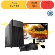 Computador Corporate  Amd Fm2 A8 6gb de Ram Hd 1 Tb Kit Multimídia Monitor 19 Windows 10 -