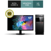 Computador corporate asus intel core i3 3.10ghz memória 4gb ddr3 hd 1tb windows monitor led 19 -