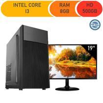 Computador corporate asus intel core i3 3.10ghz memória 8gb ddr3 hd 500gb windows monitor led 19 -
