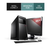 Computador Corporate ASUS Intel Core i7 4Gb Ddr3 Hd 500Gb Sata3 Wdows Kit Teclado e Mouse Monitor 21 -