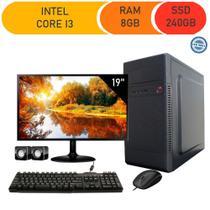 Computador Corporate I3 8gb 240gb Ssd Dvdrw Kit Multimídia Monitor 19 -