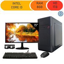 Computador Corporate I3 8gb Hd 1tb Kit Multimídia Monitor 15 -