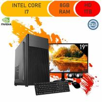 Computador Corporate I7 8gb Hd 1tb Dvdrw Kit Multimídia Windows 10 Monitor 19 Gt 210