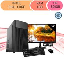Computador Corporate Intel Dual Core 4gb Hd 500 Gb Kit Multimídia Monitor 19 -