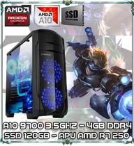 Computador Cpu Pc Gamer A10 9700 Quad Core 3.5ghz 4gb Ddr4 Apu R7 250 Ssd 120gb Ga155 - Amd