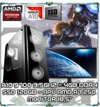 "Computador Cpu Pc Gamer A10 9700 Quad Core 3.5ghz 4gb Ddr4 Apu R7 250 Ssd 120gb Monitor 18,5"" Bg017 - Amd"