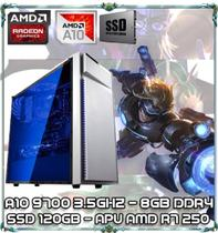 Computador Cpu Pc Gamer A10 9700 Quad Core 3.5ghz 8gb Ddr4 Apu R7 250 Ssd 120gb Bg-015 White - Amd