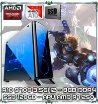 Computador Cpu Pc Gamer A10 9700 Quad Core 3.5ghz 8gb Ddr4 Apu R7 250 Ssd 120gb Bg007 - Amd