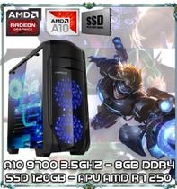 Computador Cpu Pc Gamer A10 9700 Quad Core 3.5ghz 8gb Ddr4 Apu R7 250 Ssd 120gb Ga155 - Amd