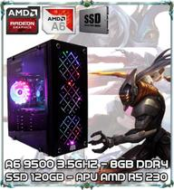 Computador Cpu Pc Gamer A6 9500 Dual Core 3.5ghz 8gb Ddr4 Apu R5 230 Ssd 120gb Newex Vortex - Amd