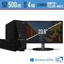 Computador Desktop com Monitor 23,5 HDMI  Processador Intel Celeron 4GB HD 500 Windows Pro - EVEREX