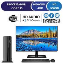 "Computador Desktop Completo com Monitor 19.5"" HDMI Intel Core i3 4GB HD 500GB Wifi com mouse e teclado EasyPC SlimDesk -"