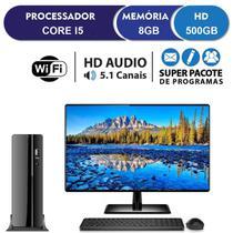 Computador Desktop Completo com Monitor LED HDMI Intel Core i5 3.40Ghz 8GB HD 500GB Wifi com mouse e teclado EasyPC SlimDesk -