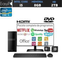 """Computador Desktop EasyPC Intel Core i5 8GB HD 2TB Gravador de DVD Mouse Teclado e Caixas de som Monitor LED 19,5"""" HDMI -"""