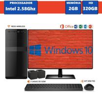 Computador Desktop EasyPC MicrosoftPack Intel Dual Core 2.58Ghz 2GB HD 320GB Windows 10 Monitor 15.6 LED
