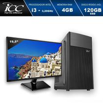 "Computador Desktop Icc Intel Core I3 3.20 Ghz 4gb Hd 120gb Ssd Hdmi Full Hd Monitor Led 19,5"" -"