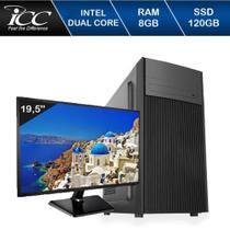 Computador Desktop ICC IV1886SM19 Intel Dual Core 2.41ghz 8GB HD 120GB SSD Monitor LED 19,5 -