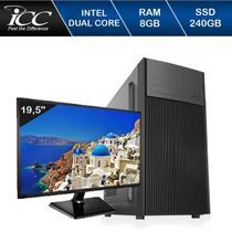 Computador Desktop ICC IV1887SM19 Intel Dual Core 2.41ghz 8GB HD 240GB SSD Monitor LED 19,5 -