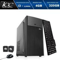 Computador Desktop ICC IV2340C3 Intel Core I3 3.20 ghz 4GB HD 320GB DVDRW Kit Multimídia HDMI FULLHD -