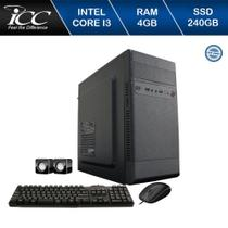 Computador Desktop ICC IV2347K Intel Core I3 3.20 ghz 4GB HD 240GB SSD Kit Multimídia HDMI FULLHD -