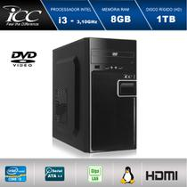 Computador Desktop ICC IV2382D Intel Core I3 3.20 ghz 8GB HD 1TB DVDRW HDMI FULL HD -