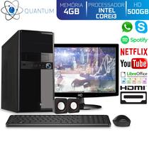 Computador Desktop Quantum Expert QE31501MD Intel Core i3 3GHZ 4GB HD 500GB Kit Multimídia e Monitor LED HDMI