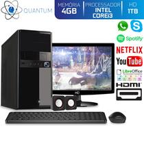 Computador Desktop Quantum Expert QE31503MD Intel Core i3 3GHZ 4GB HD 1TB Kit Multimídia e Monitor LED HDMI -