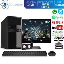 "Computador Desktop Quantum Expert QE31902MD Intel Core i3 3GHZ 4GB HD 500GB DVD-RW Kit Multimídia e Monitor 19.5"" LED HDMI -"