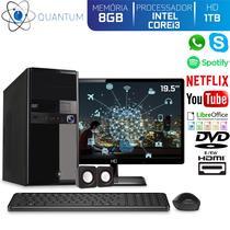 "Computador Desktop Quantum Expert QE31912MD Intel Core i3 3GHZ 8GB HD 1TB DVD-RW Kit Multimídia e Monitor 19.5"" LED HDMI -"