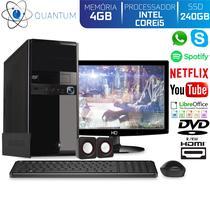Computador Desktop Quantum Expert QE51510MD Intel Core i5 3,4GHZ 4GB SSD 240GB DVD-RW Kit Multimídia e Monitor LED HDMI -