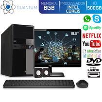 "Computador Desktop Quantum Expert QE51912MD Intel Core i5 3,4GHZ 8GB HD 500GB DVD-RW Kit Multimídia e Monitor 19.5"" LED HDMI -"