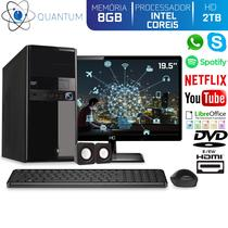"Computador Desktop Quantum Expert QE51916MD Intel Core i5 3,4GHZ 8GB HD 2TB DVD-RW Kit Multimídia e Monitor 19.5"" LED HDMI -"