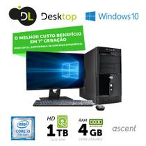 Computador DL Ascent - Intel core i3, 4GB/1TB, USB3.0, Windows 10 SL+ Monitor 19,5