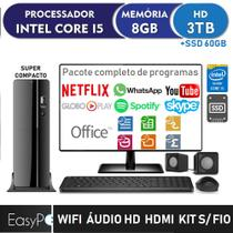 Computador EasyPC Small Desktop Intel Core i5 8GB HD 3TB SSD 60GB HDMI Áudio HD 5.1 Monitor LED 19.5 HDMI Wifi Mouse e teclado sem fio -