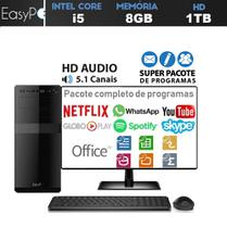 Computador EasyPC Standard Intel Core i5 8GB DDR3 HD 1TB HDMI FullHD audio 5.1 Monitor 19.5 -