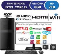 Computador EasyPC Standard Plus Intel Core i5 8GB HD 2TB Gravador de DVD Wifi Monitor HDMI 19.5