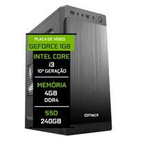 Computador Fácil Intel Core i3 10100f (Décima Geração) 4GB DDR4 Geforce Nvidia 1GB SSD 240GB - Fácil Computadores