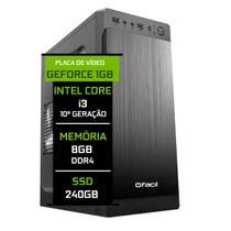 Computador Fácil Intel Core i3 10100f (Décima Geração) 8GB DDR4 Geforce Nvidia 1GB SSD 240GB - Fácil Computadores