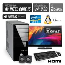 Computador Flex Computer Advanced I Intel Core i5 8GB DDR3 500GB HDMI áudio 5,1 monitor LED 19.5