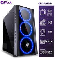 Computador Gamer 1000 - Athlon 3000g 3.5ghz Mem. 8gb Ddr4 Hd 1tb Rx 550 4gb Fonte 500w - Skul