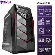 Computador Gamer 3000 - I3 9100F 3.6GHZ 9A GER. MEM. 8GB DDR4 HD 1TB GTX 1650 4GB Fonte 400W - SKUL