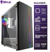 Computador Gamer 3000 - Ryzen 3 3200g 3.6ghz Mem. 8gb Ddr4 Ssd 240gb Rx 570 4gb Fonte 450w - Skul