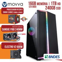 Computador Gamer Amd Ryzen 5 2600x 3.6ghz 16gb(2x8gb) Ssd 240gb Hd 1tb Water Cooler 240mm Fonte 600w - Movva