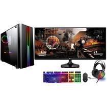 Computador Gamer Completo com Monitor 25 ultrawide LG FoX PC Dark Intel Core i5 8GB (GeForce GTX 1050 2GB) 80 Plus HD 1TB Wifi - Easypc