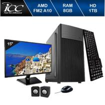 Computador Icc  Amd Fm2 A10 8gb de Ram Hd 1 Tb Kit Multimídia Monitor 15 Windows 10 -