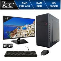 Computador Icc  Amd Fm2 A10 8gb de Ram Hd 500gb Kit Multimídia Monitor 15 Windows 10 -