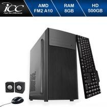 Computador Icc  Amd Fm2 A10 8gb de Ram Hd 500gb Kit Multimídia Windows 10 Dvdrw -